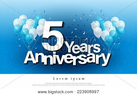 5th years anniversary greeting card lettering template with balloon and confetti. Design for invitation card, banner, web, header and flyer. vector illustrator