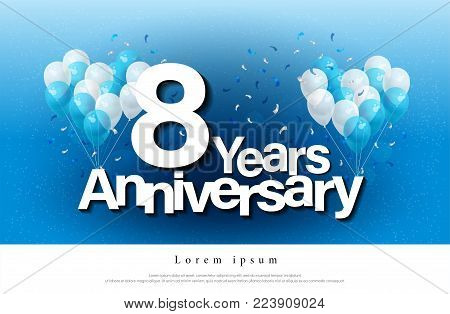 8th years anniversary greeting card lettering template with balloon and confetti. Design for invitation card, banner, web, header and flyer. vector illustrator