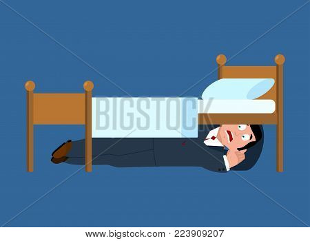Businessman fears hiding under bed. Fear illustration.