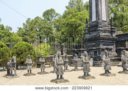 Tomb of Khai dinh,guardian statues, Hue, Vietnam