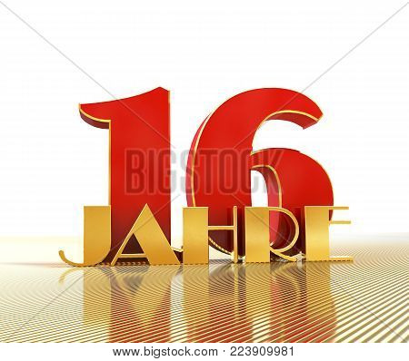 Golden number sixteen (number 16) and the word