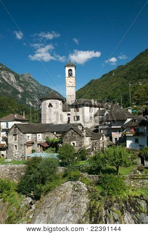 The beautiful village of Lavertezzo in the Verzasca valley of Switzerland