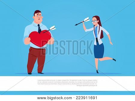 Woman Throwing Arrows In Man Holding Heart Shape Love And Valentine Day Holiday Concept Flat Vector Illustration