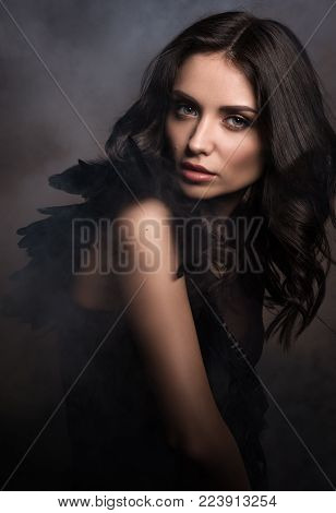 Black angel in a cloud of smoke. Beauty portrait in dark tones. Sexy young woman in black with black feathers. Sensual look. Professional makeup and hairstyle