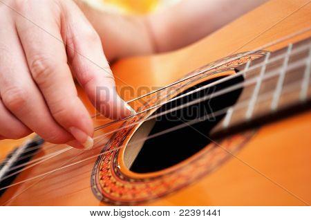 Closeup Of A Guitarist Playing