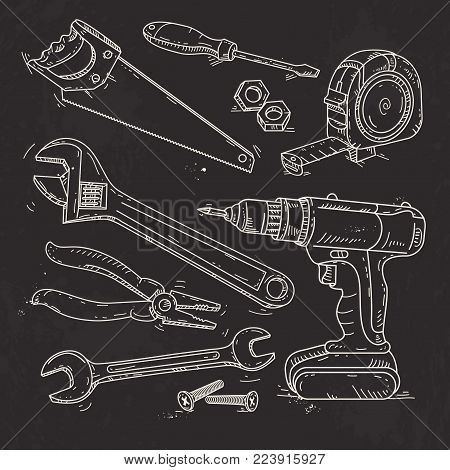 Vector illustration, hand sketch icons set of carpentry tools, a saw, pliers, screwdriver and tape measure are drawn on black background