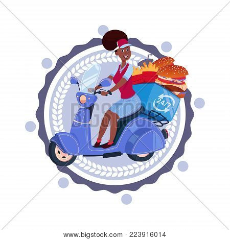 Woman Deliver Food Riding Retro Scooter Delivery Icon Isolated Template Logo Flat Vector Illustration