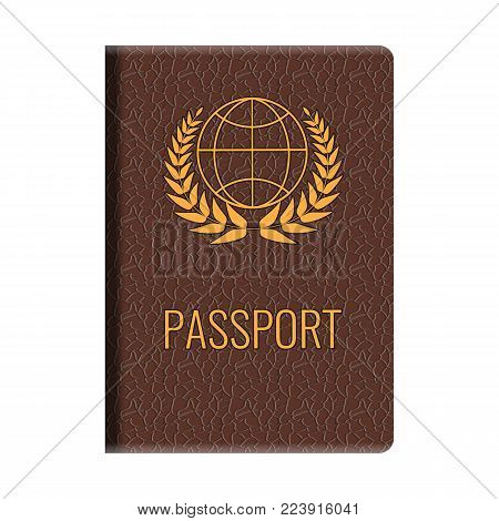 Realistic Passport mockup. Front cover of High detailed leather cover of passport. Vector Illustration.