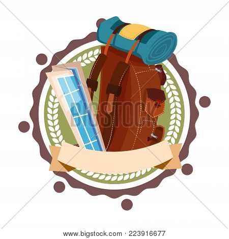 Backpack Travelling Icon Retro Style Isolated Tourist Baggage Rucksack Flat Vector Illustration