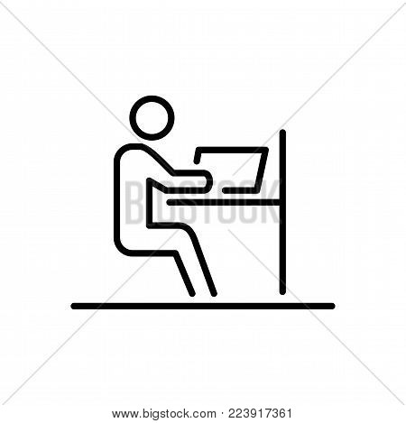 Office employer business people icon simple line flat illustration.