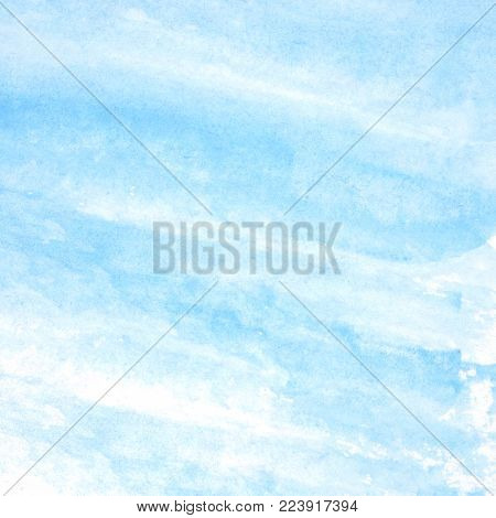 Watercolor background, art abstract blue watercolor painting textured design on white paper background