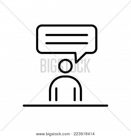 Speaking man business people icon simple line flat illustration.