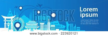 Landmarks Travel Route Planning Concept Plane Fly Over Famous Building Template Background Flat Vector Illustration
