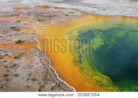 The famous Morning Glory Pool in Yellowstone National Park, Wyoming, USA