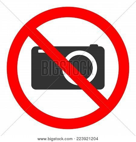 NO CAMERAS ALLOWED sign in crossed out red circle. Vector icon.