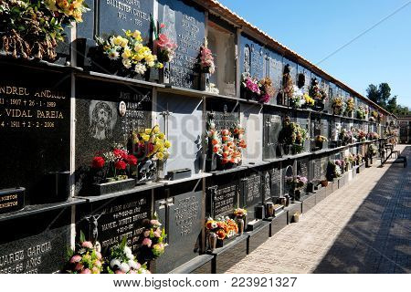 Torrevieja, Spain - January 22, 2018: Cemetery niches in a Torrevieja city. Costa Blanca. Spain