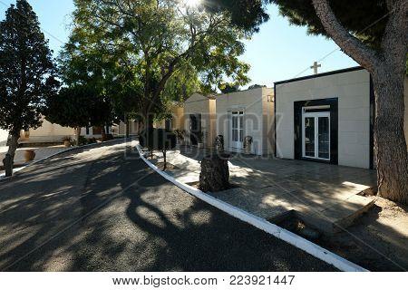 Torrevieja, Spain - January 22, 2018: Cemetery in a Torrevieja city. Costa Blanca. Spain