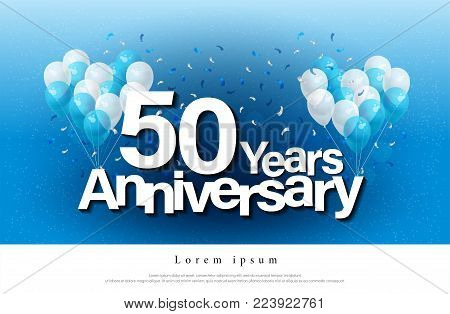 50th years anniversary greeting card lettering template with balloon and confetti. Design for invitation card, banner, web, header and flyer. vector illustrator