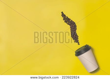 Paper Coffee Container On Color Background. Template Of Drink Cup For Your Design. Can Put Text, Ima