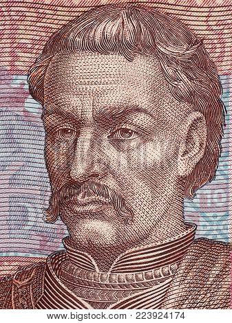 Ivan Mazepa portrait from Ukrainian money - Hryvnia