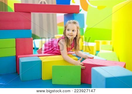 Kids Play At Toy Supermarket Or Grocery Store.