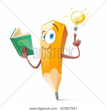 Funny pensil with book and idea lamp. Vector flat