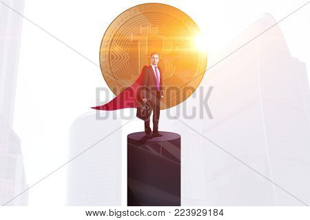 Businessman standing on pedestal with golden bitcoin, sunlight and city view. Leadership and investment concept. Double exposure