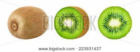 Set of whole and slice kiwi fruits isolated on white background. Kiwi fruit collection. Clipping path included.