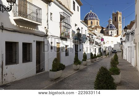 Altea, Spain. January 22, 2018: Views of the beautiful town of Altea, in the province of Alicante, Spain.