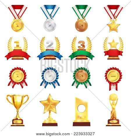 Sport trophies festival awards collection with gold silver bronze medals and football championship cup isolated vector illustration