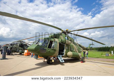 ZHUKOVSKY, RUSSIA - JULY 20, 2017: Military transport helicopter Mi-17V-5 close-up. MAKS-2017 airshow