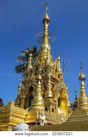 Kyauktan Ye Pagoda, Yangon river tributary, Myanmar (Burma)