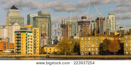 LONDON, UK - October 17th, 2017: Canary Wharf business district in London