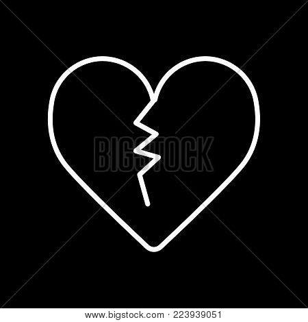 Broken heart line icon. Vector flat illustration. Outline design.