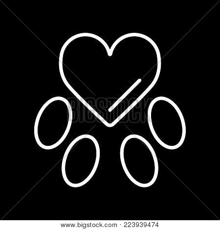 Template mark veterinary care in the form of heart-track the animal. Vector idea. Simple linear flat illustration. Eps 10