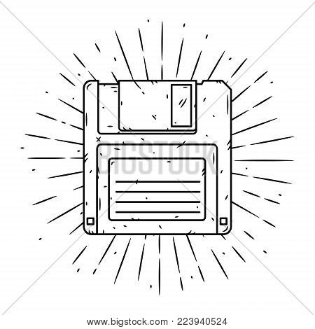 Hand drawn vector illustration with Floppy disk and divergent rays. Used for poster, banner, web, t-shirt print, bag print, badges, flyer, logo design and more