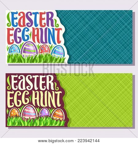 Vector banners for Easter holiday with copy space, original handwritten brush typeface for title text easter egg hunt, 4 colorful painted eggs on spring green grass, invitation for kids easter holiday