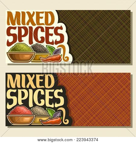 Vector banners for Spices, original brush typeface for title text mixed spices, in bowls of indian condiments ground fennel seed, powder of paprika spice, black pepper, leaves of basil and hot chilli.