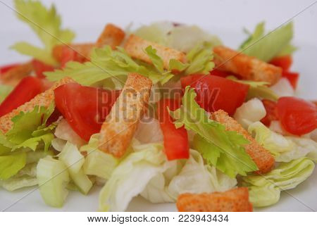 Vegeterian Salad with Tomatoes and Red Bell Peper. Organic, Health