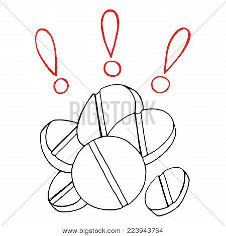Monochrome tablets pills meds exclamation mark hand drawn line art sketch isolated vector