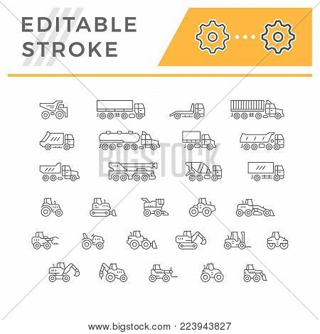 Set line icons of trucks and tractors isolated on white. Editable stroke. Vector illustration