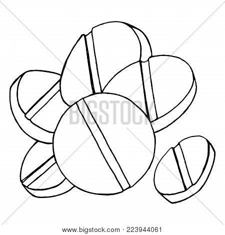 Monochrome tablets pills meds hand drawn line art sketch isolated vector