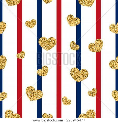 Gold heart seamless pattern. Red-blue-white geometric stripes, golden confetti-hearts. Symbol of love, Valentine day holiday. Design wallpaper, background, fabric texture Vector illustration