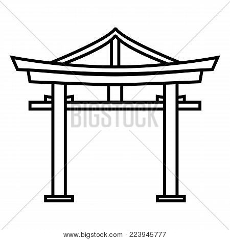 Vector Set Of Black Silhouette Torii Gate Icons.