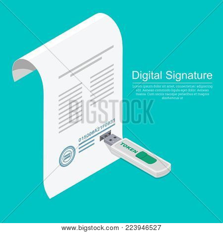 USB memory stick and a document with a connector.Concept of the digital signature.The company for customer service.Isometry.3D. A vector illustration in flat style.