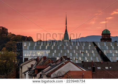 Sunrise over the new university library in Freiburg.  As an academic and research library, the University Library caters to students and staff of the University of Freiburg