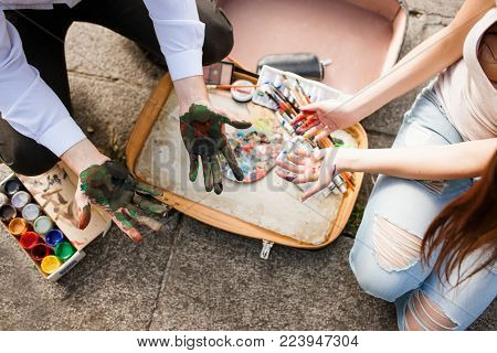 Painter lifestyle work art concept. Creative untidiness. Aspects of the profession. Artist equipment assortment.