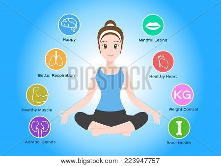 yoga health infographic vector on blue background