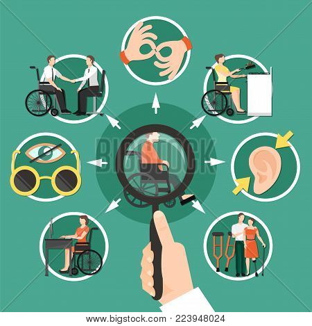 Disabled person composition with isolated icon set combined around disabled person who is sitting in a wheelchair vector illustration