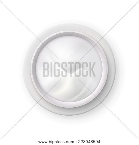 White nourishing cream in opened jar top view realistic image of skin care cosmetics product vector illustration